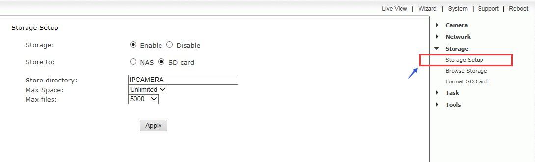 TT730LPW's sd card web page