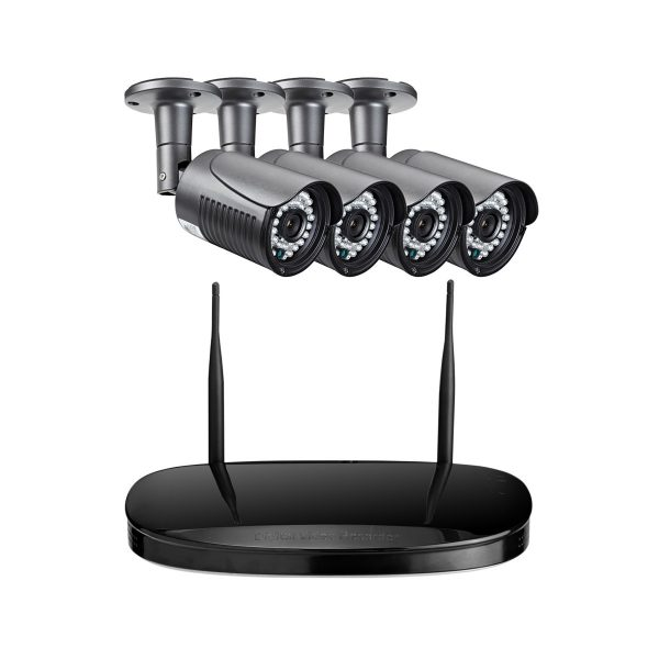 4 Channel HD 720P Wireless Night Vision Cameras Plus Wireless NVR Kits