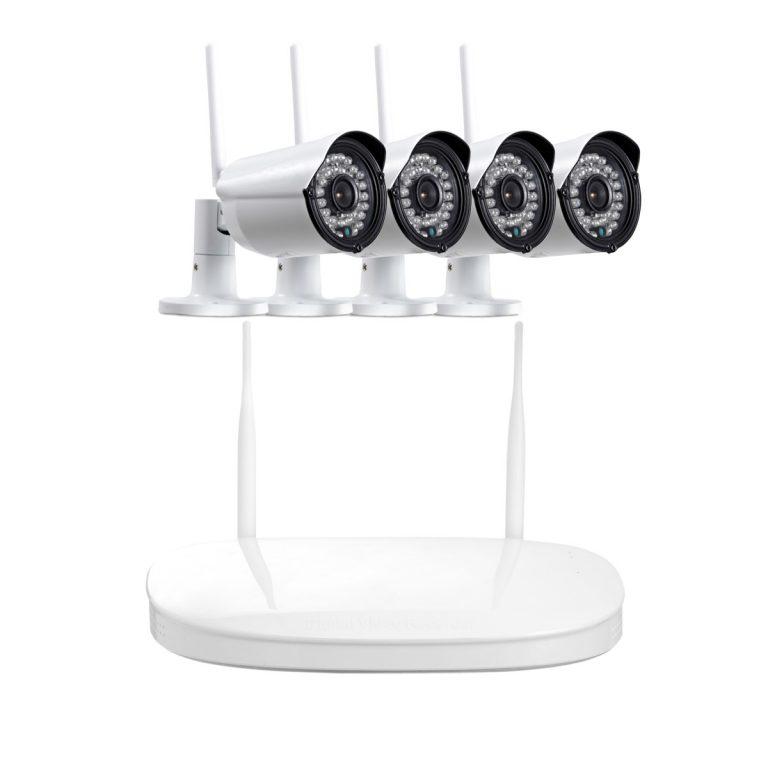 4 Channel HD 720P Wireless Night Vision Cameras Plus Wireless NVR Kits